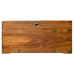 19th Century Campaign Style Camphor Wood Trunk with Brass Corners