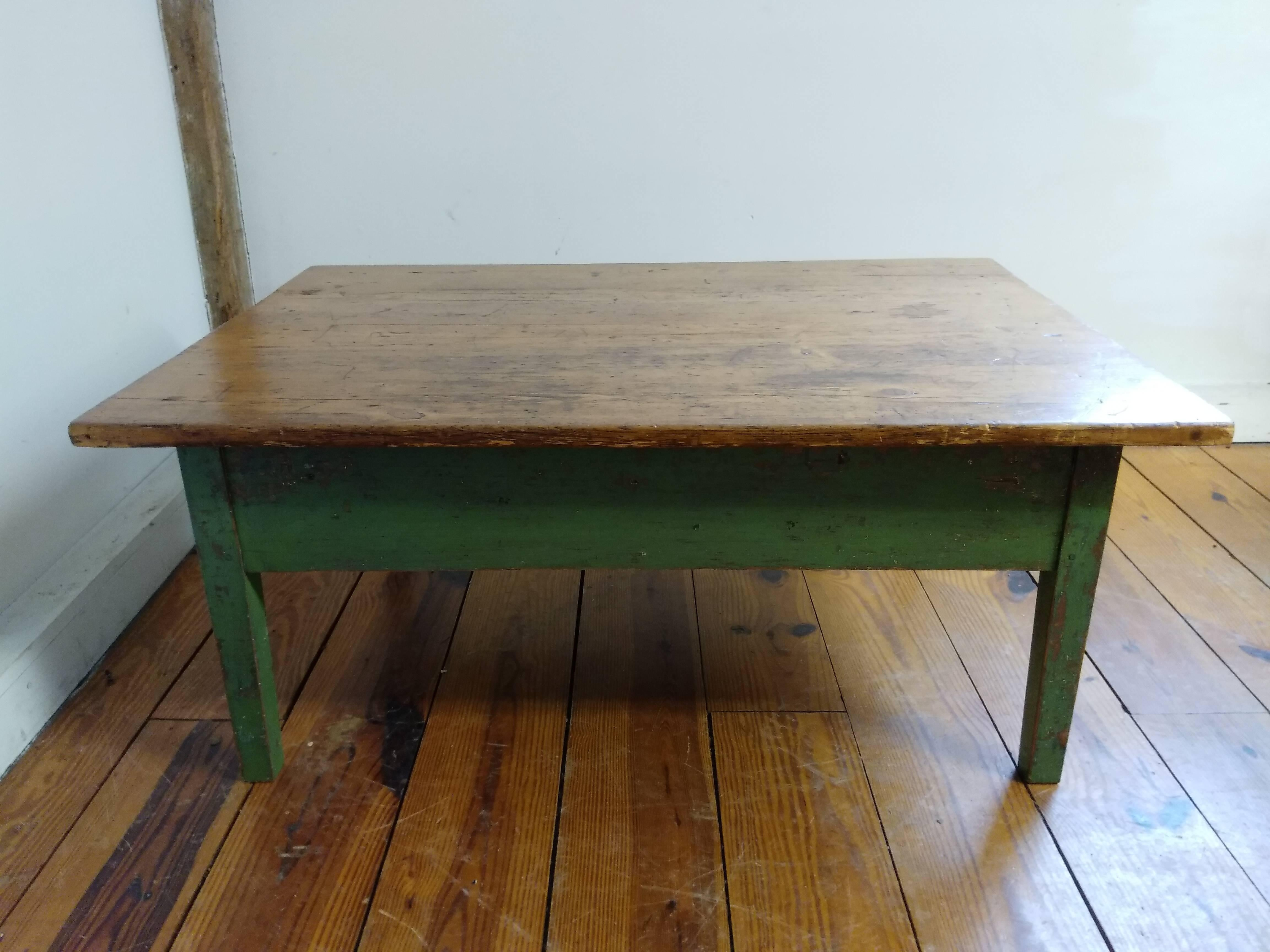 This Two Drawer Coffee Table From 1880 Features Original Vibrant Green  Paint On Its Base