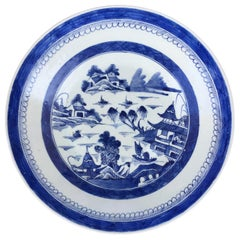 19th Century Canton Blue and White Porcelain Charger