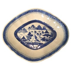 19th Century Chinese Export Canton Ware Oval Blue & White Porcelain Plate