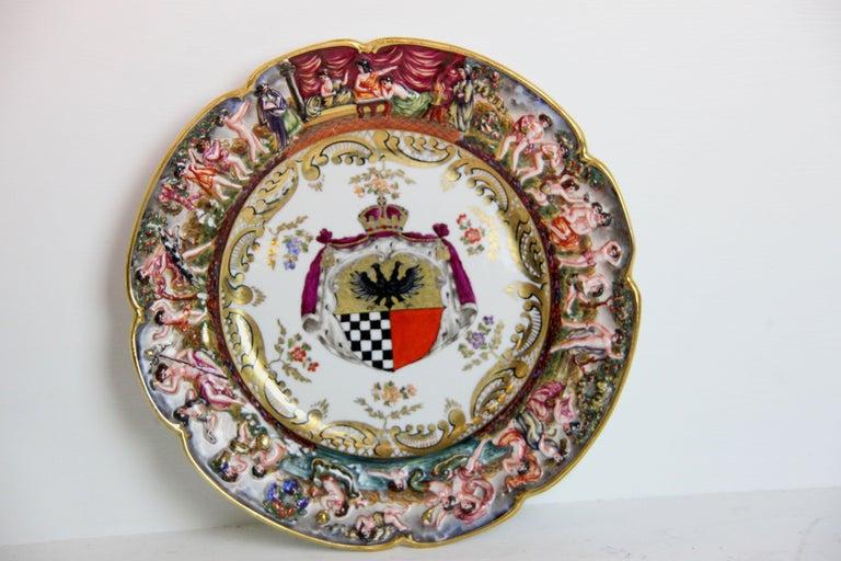 Porcelain 19th Century Capodimonte Plate For Sale