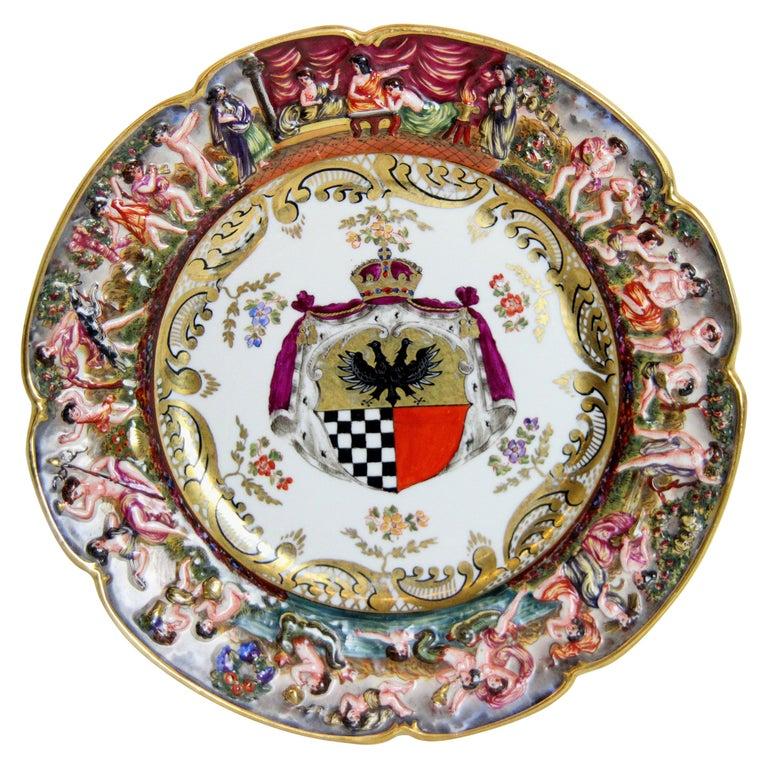 19th Century Capodimonte Plate For Sale