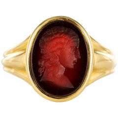 19th Century Carnelian Intaglio 18 Karat Yellow Gold Ring
