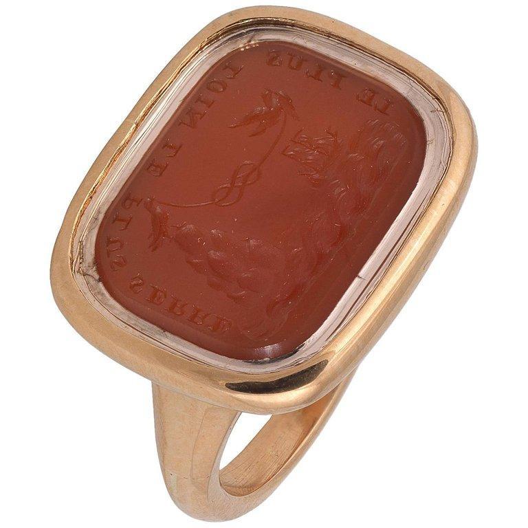 Victorian 19th Century Carnelian Intaglio Ring For Sale