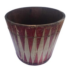 19th Century Carnival Painted Bucket in Original Paint