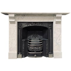 19th Century Carrara Marble Corbel Fireplace Surround
