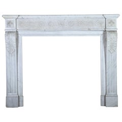 19th Century Carrara Marble Fine Vintage Classic French Fireplace Surround