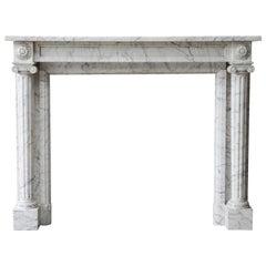 19th Century Carrara Marble Fireplace of Louis XVI