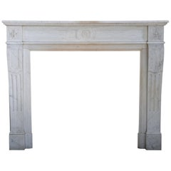 19th Century Carrara Marble Mantel Surround in Style of Louis XVI