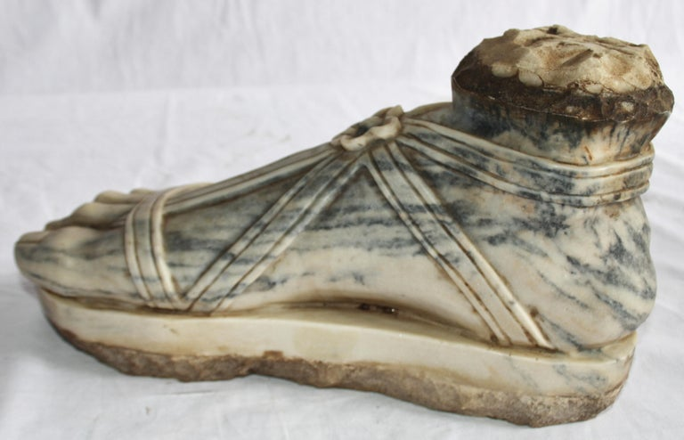 19th Century Carrera Italian Marble Sculptured Foot, Hand Carved In Good Condition For Sale In Warminster , Wiltshire