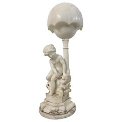 """19th Century Carved Alabaster """"Girl with Kitten"""" Table Lamp with Shade"""