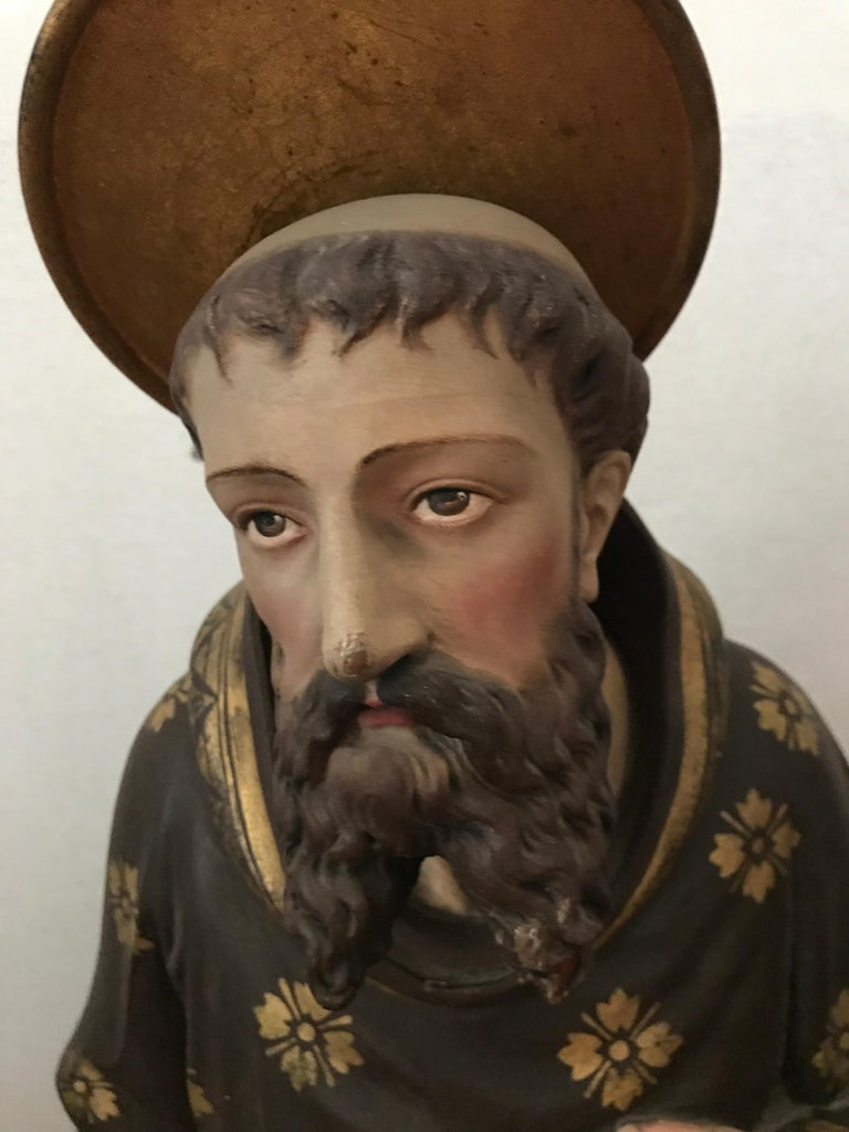 Fully hand carved wood statue of Saint Peter is in remarkably good condition retaining its original paint due to it being in the original placement of the Ava Marie Maricolen Cloister church until today.  The church was built in Antwerp in 1860 for