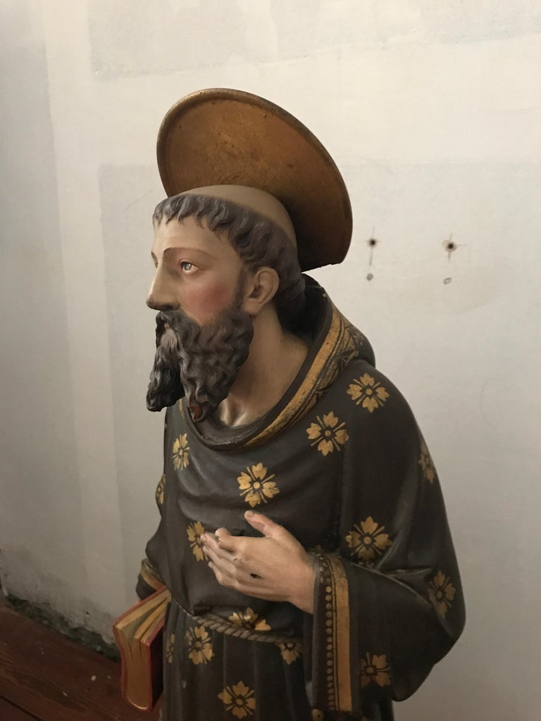 Hand-Carved 19th Century Carved and Painted Belgian Wood Statue of Saint Peter For Sale
