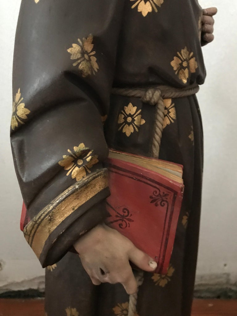 19th Century Carved and Painted Belgian Wood Statue of Saint Peter For Sale 1