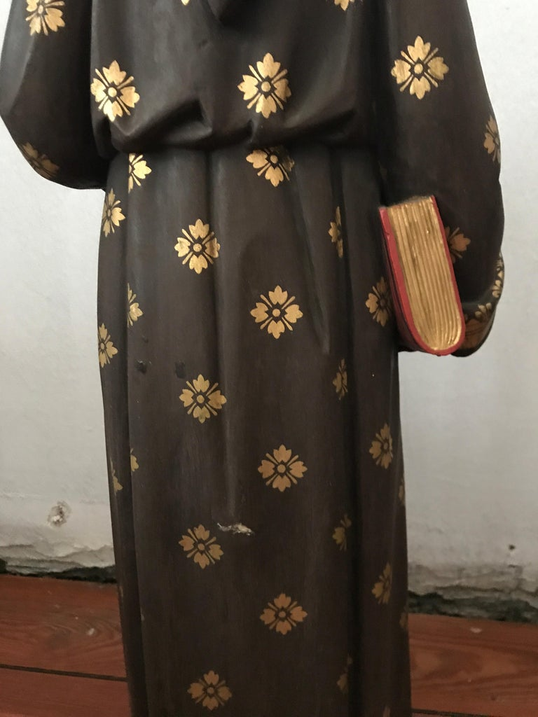 19th Century Carved and Painted Belgian Wood Statue of Saint Peter For Sale 3