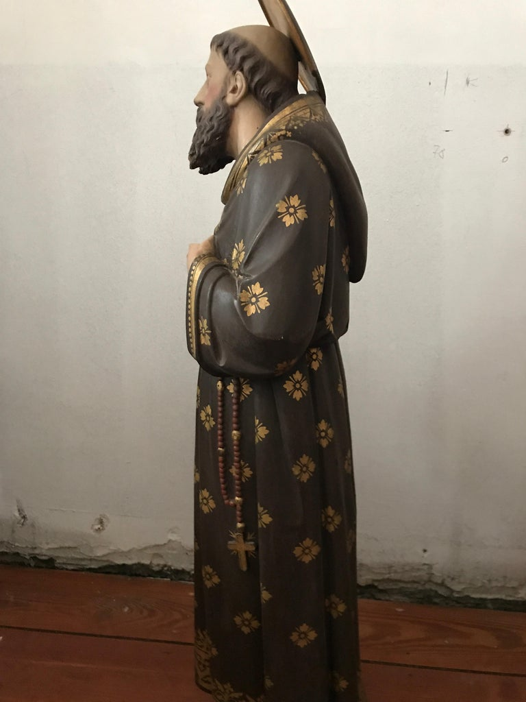 19th Century Carved and Painted Belgian Wood Statue of Saint Peter For Sale 4