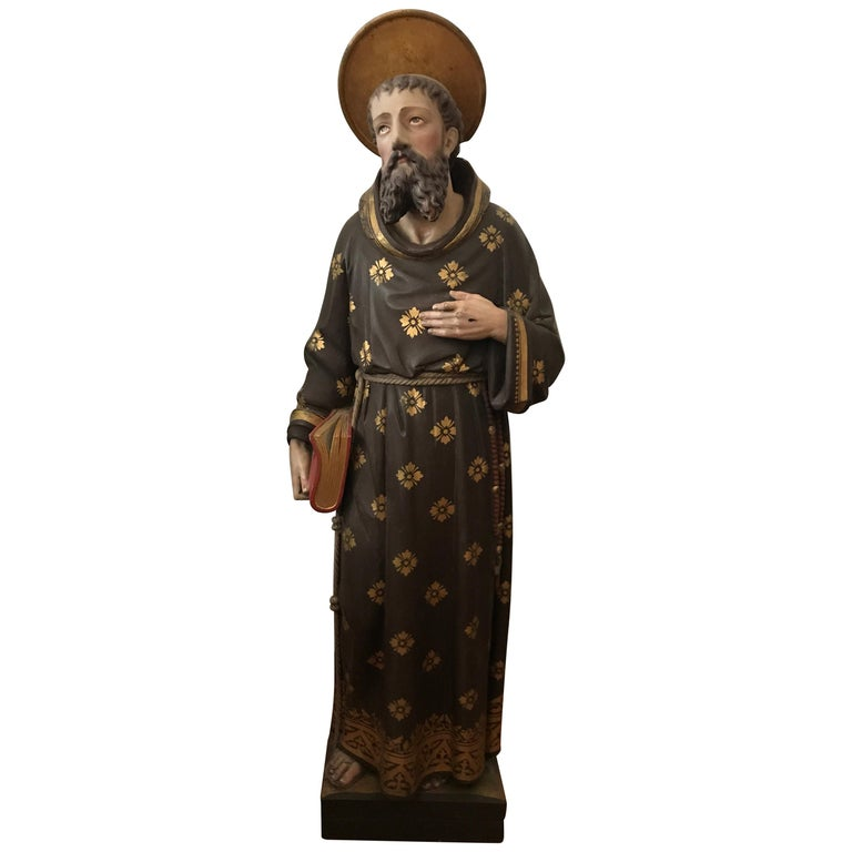 19th Century Carved and Painted Belgian Wood Statue of Saint Peter For Sale