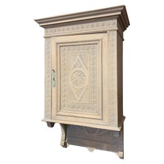 19th Century Carved and Painted Hanging Cabinet