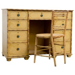19th Century Carved and Painted Pine Faux Bamboo Desk