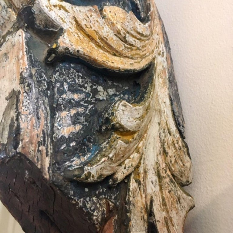 Folk Art 19th Century Carved and Painted Ship's Billet Head For Sale