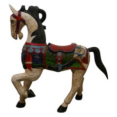 19th Century Carved and Painted Wooden Horse
