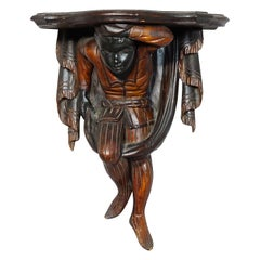 19th Century Carved and Polychromed Venetian Shelve with Jester Figure