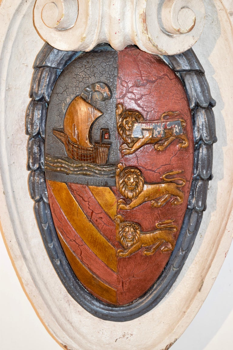 Hand-Carved 19th Century Carved Armorial Plaque For Sale