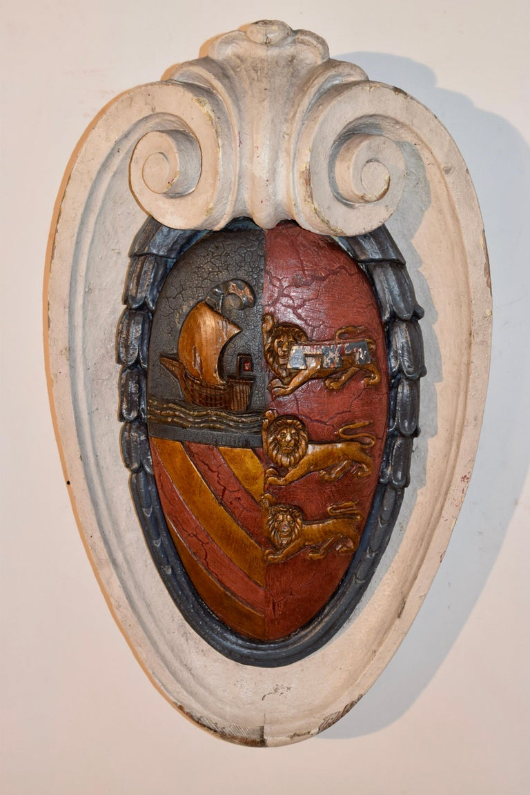 19th Century Carved Armorial Plaque In Good Condition For Sale In High Point, NC