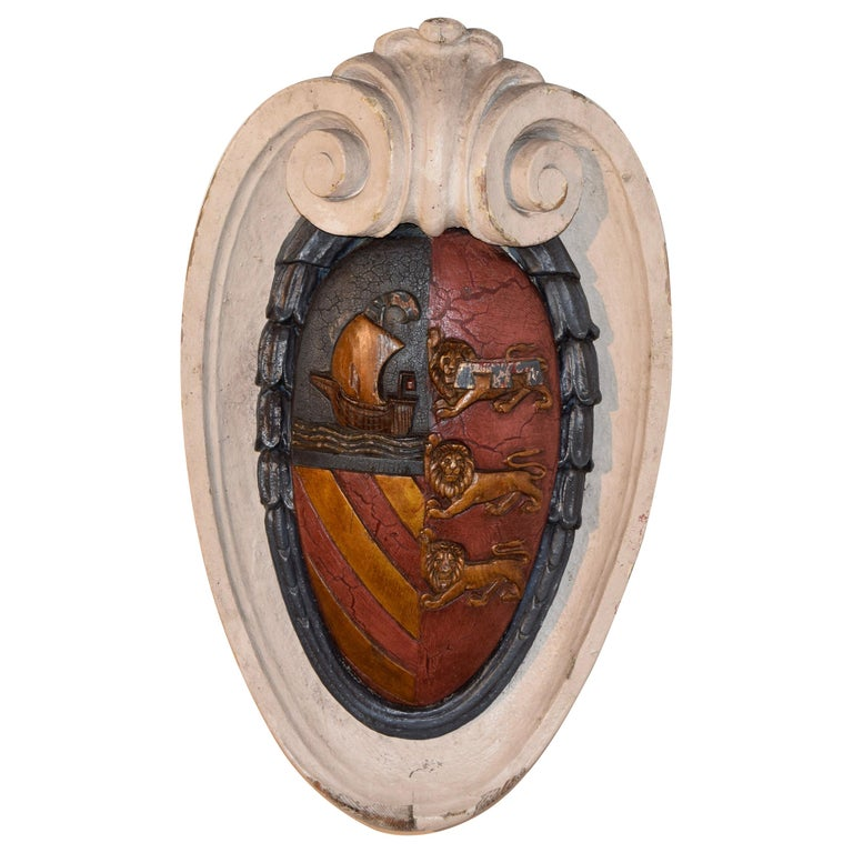 19th Century Carved Armorial Plaque For Sale