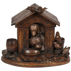 19th Century Carved 'Black Forest' Doghouse Coquetier and Egg Holder