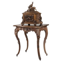 19th Century Carved 'Black Forest' Drinks Cabinet on Stand