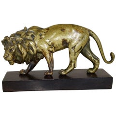 19th Century Carved Bronze Statue of Lion on Wooden Base
