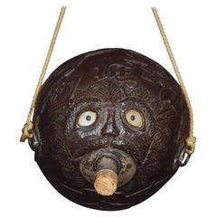 19th Century Carved Bug Bear Coconut Flask