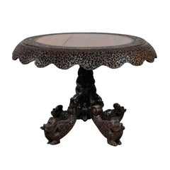 19th Century Carved Burmese Pedestal Centre Table