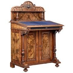 19th Century Carved Burr Walnut Davenport Writing Desk