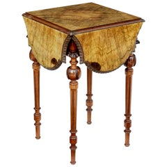 19th Century Carved Burr Walnut Envelope Occasional Table