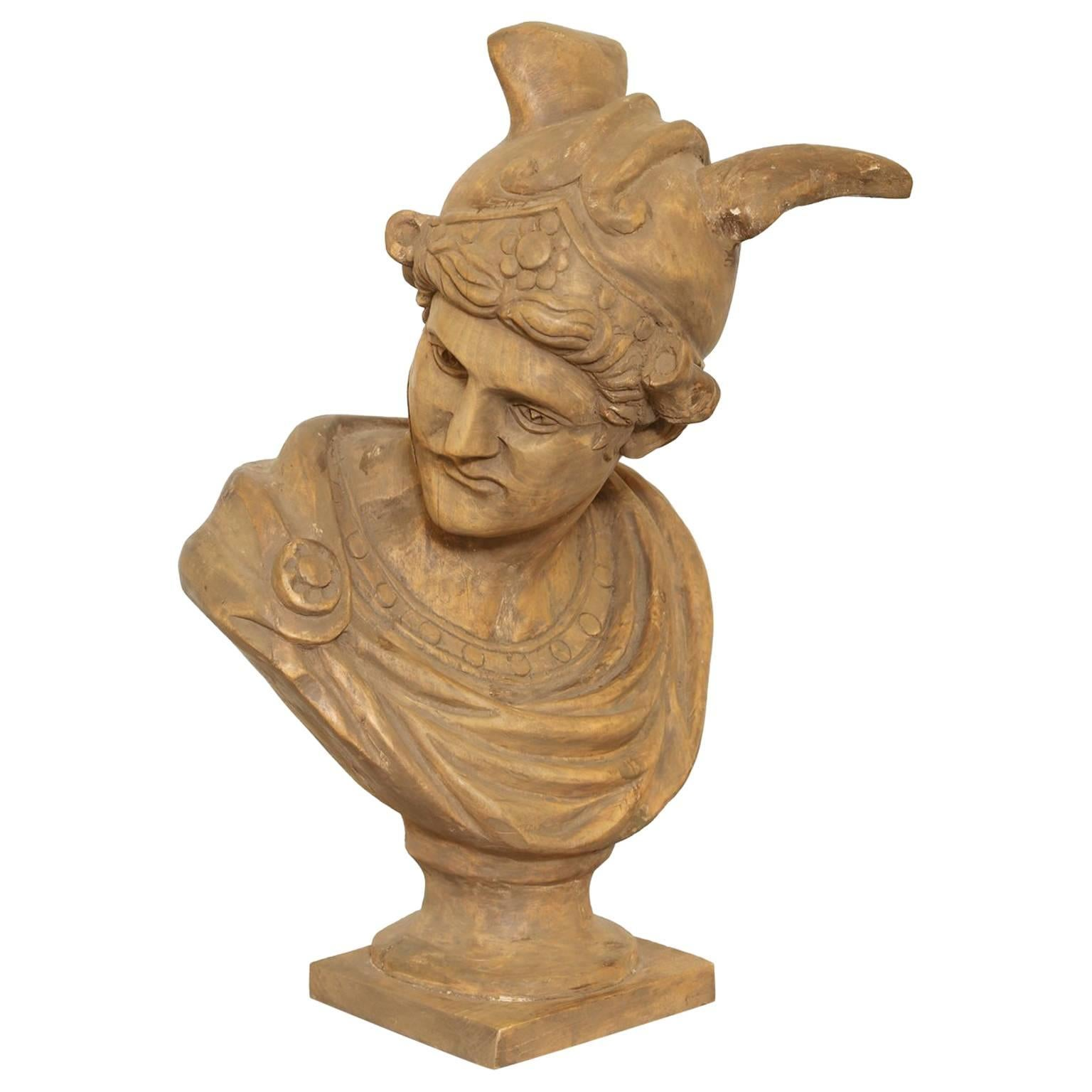 19th Century Carved Bust of Mercury