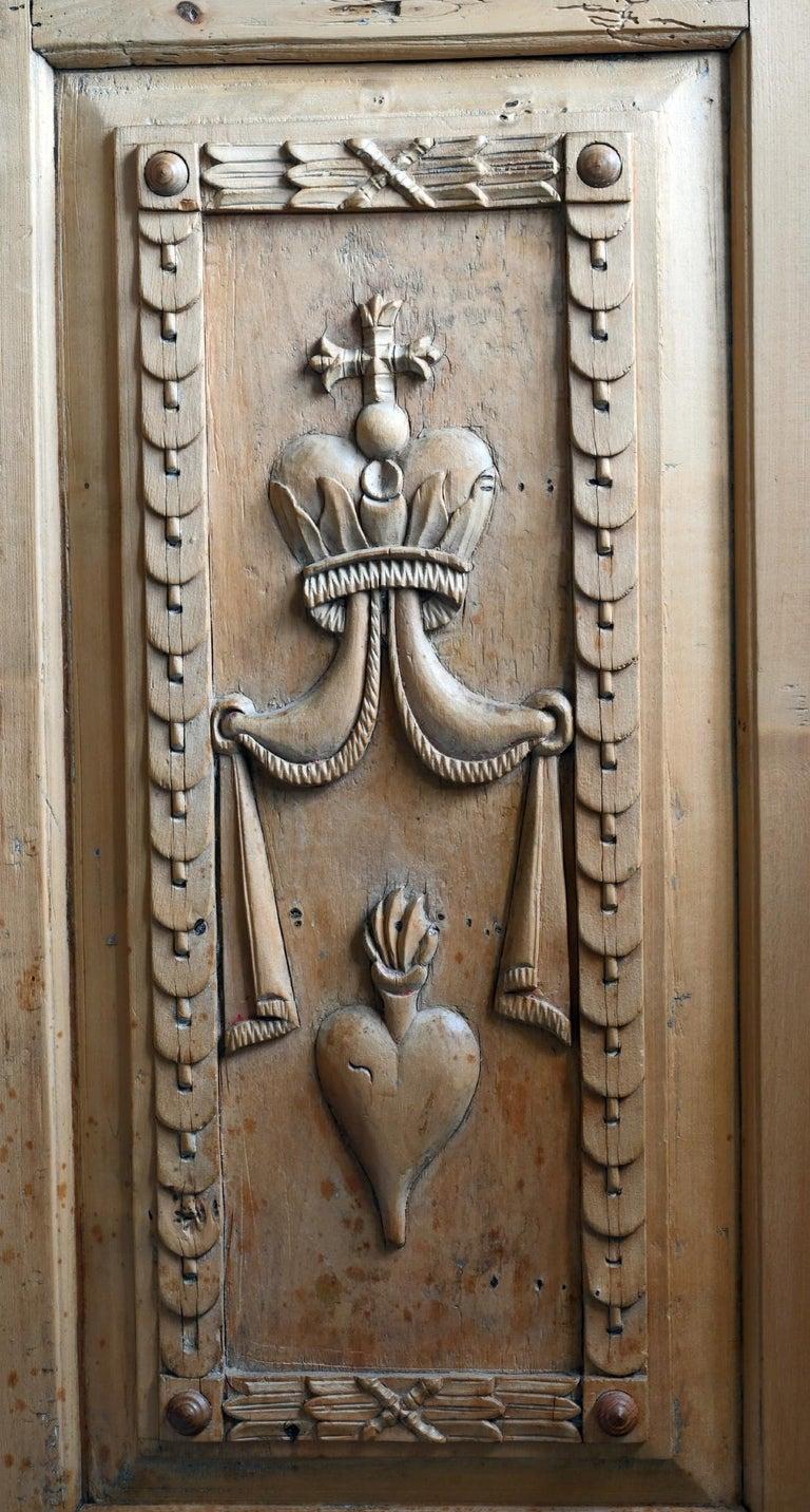 German 19th Century Carved Cabinet Bavaria Landsberg Lech, Wedding Cabinet Folkart For Sale