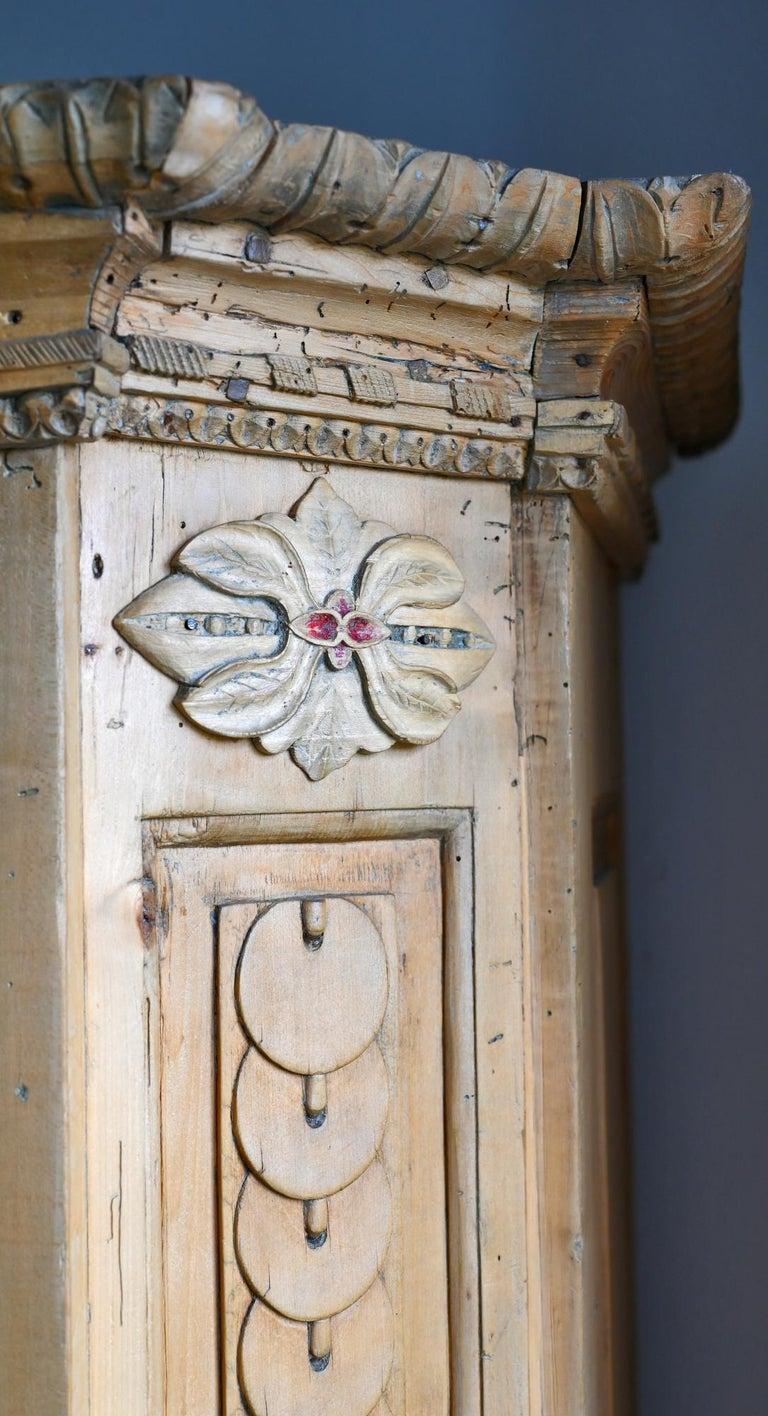 Hand-Carved 19th Century Carved Cabinet Bavaria Landsberg Lech, Wedding Cabinet Folkart For Sale