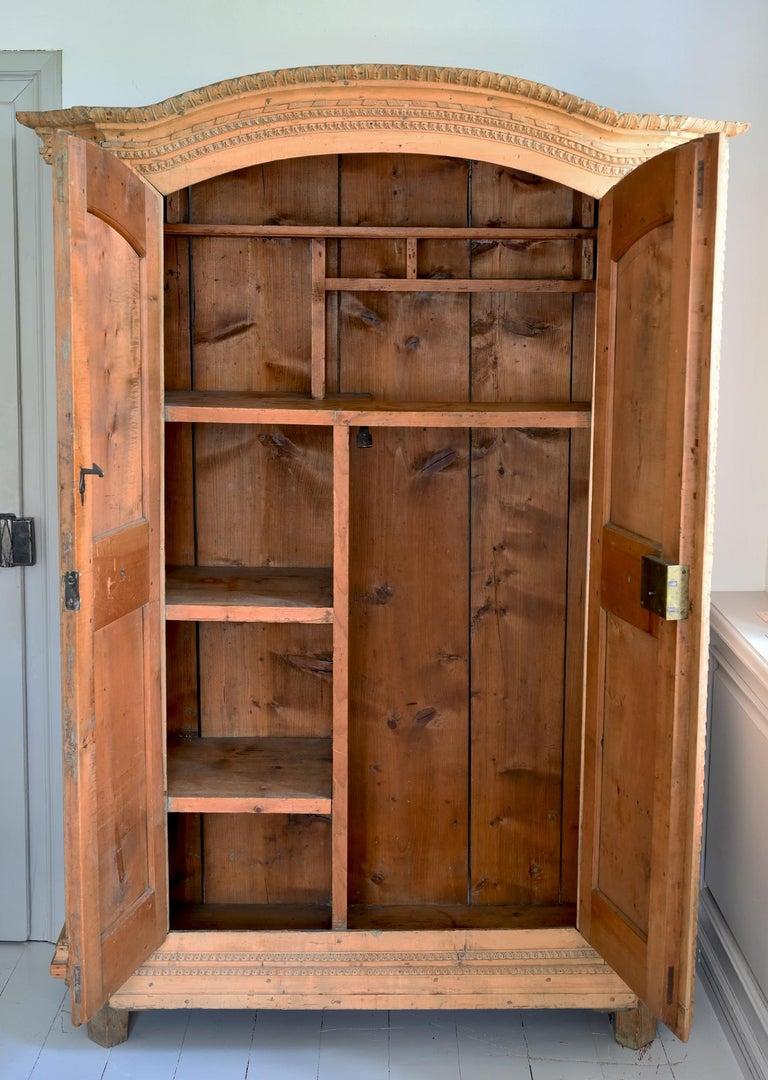 Softwood 19th Century Carved Cabinet Bavaria Landsberg Lech, Wedding Cabinet Folkart For Sale