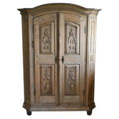 19th Century Carved Cabinet Bavaria Landsberg Lech, Wedding Cabinet Folkart