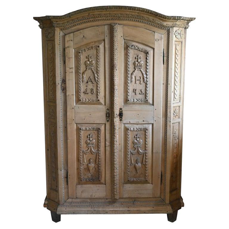19th Century Carved Cabinet Bavaria Landsberg Lech, Wedding Cabinet Folkart For Sale