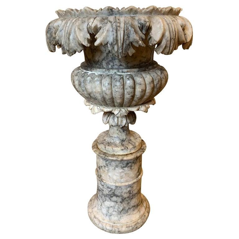 19th Century Carved Carrara Marble Urn