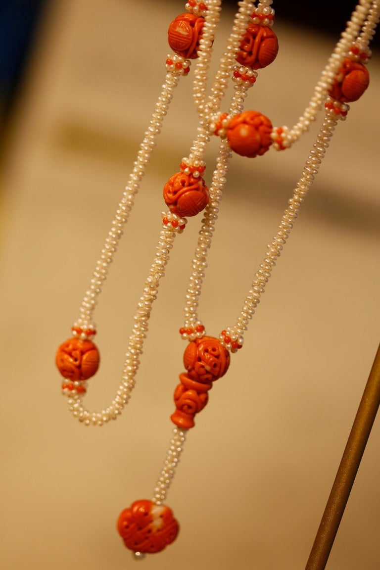 19th Century Carved Chinese Coral Dragon Beads On A Seed