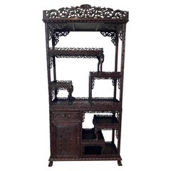19th Century Carved Chinese Etagere