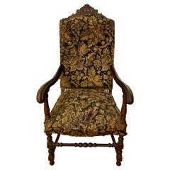 19th Century Carved English Oak Arm Chair for Restoration