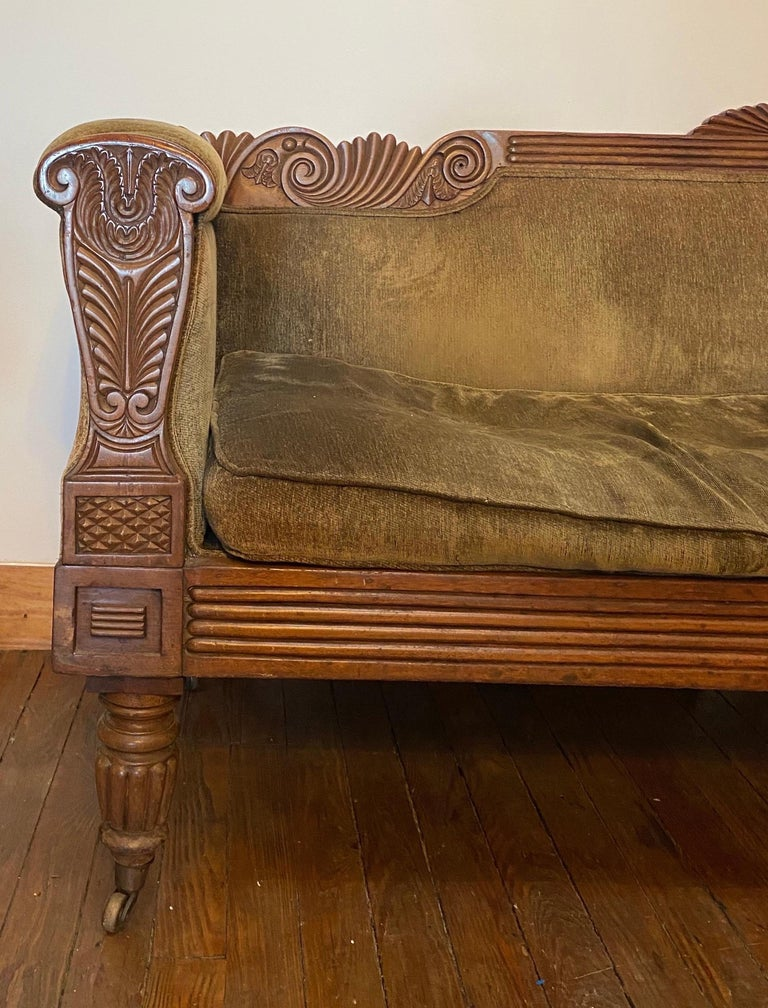 19th Century Carved English Regency Sofa In Good Condition For Sale In Charleston, SC