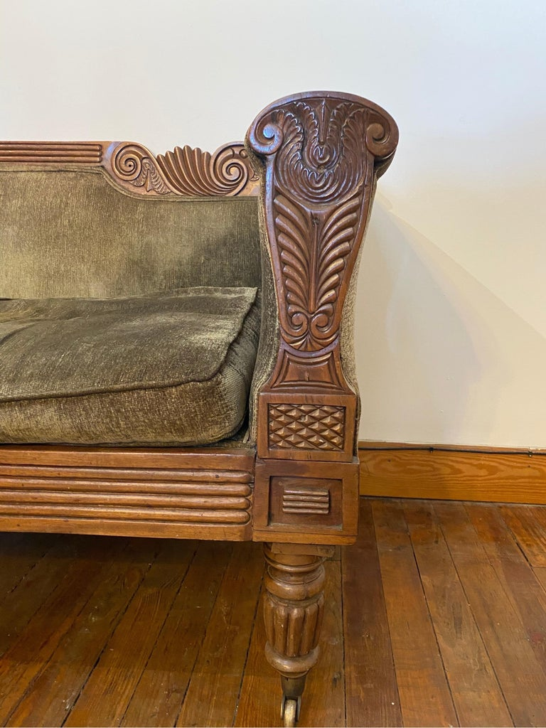 19th Century Carved English Regency Sofa For Sale 1