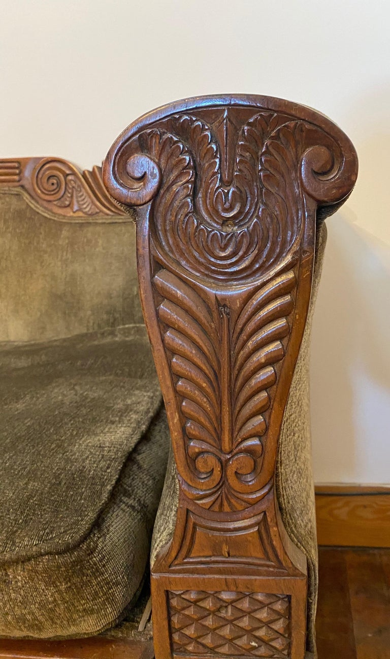 19th Century Carved English Regency Sofa For Sale 4