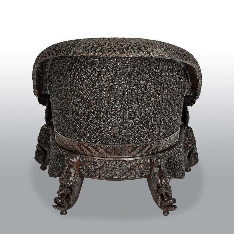 Hardwood 19th Century Carved Filigreed Burmese Chair For Sale
